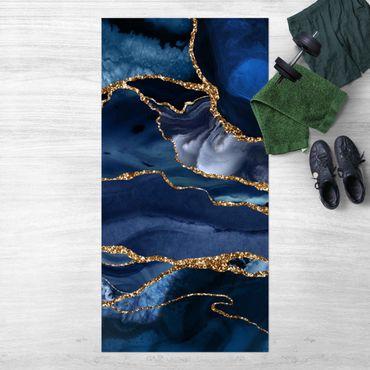 Tappeti in vinile - Onde di brillantini dorati su sfondo blu - Verticale 1:2