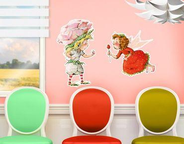 Adesivo murale no.678 Erdbeerinchen Erdbeerfee - Pink Rose 100x68cm
