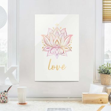 Quadro in vetro - Lotus illustrazione Oro Rosa - Orizzontale 2:3