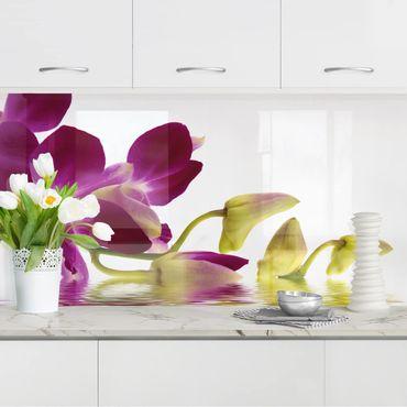 Rivestimento cucina - Orchidea rosa sull'acqua