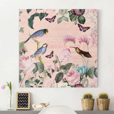 Stampa su tela - Vintage Collage - rose e uccelli - Quadrato 1:1