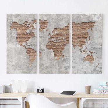 Stampa su tela 3 parti - Shabby Concrete Brick world map - Verticale 2:1