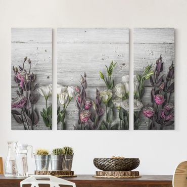 Stampa su tela 3 parti - Tulip Rose Shabby Wood Look - Trittico