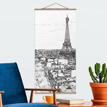 Foto su tessuto da parete con bastone - Città Studi - Parigi - Verticale 2:1