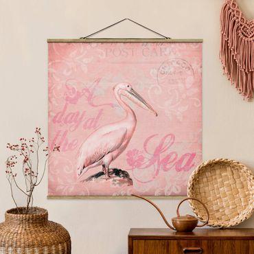 Foto su tessuto da parete con bastone - Shabby Chic Collage - Pelikan - Quadrato 1:1