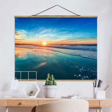 Foto su tessuto da parete con bastone - Romantico tramonto sul mare - Orizzontale 3:4