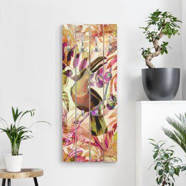 Appendiabiti in legno - Colorato collage - Tukan - Ganci cromati - Verticale