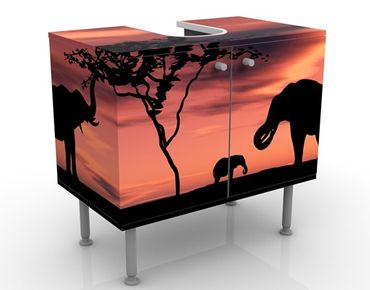 Mobile per lavabo design African Elefant Family