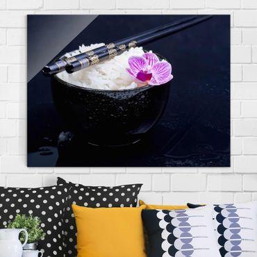Quadro in vetro - Rice Bowl Con L'orchidea - Orizzontale 3:4