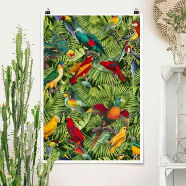 Poster - Colorato collage - Parrot In The Jungle - Verticale 3:2