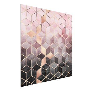 Stampa su Forex - Rosa Grigio d'oro Geometria - Quadrato 1:1