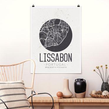 Poster - Mappa Lisbona - Retro - Verticale 4:3