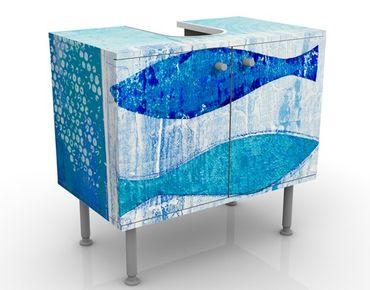 Mobile sottolavabo - Pesci nel blu - Mobile bagno marittimo blu