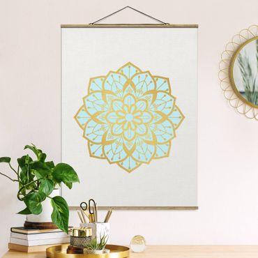 Foto su tessuto da parete con bastone - Mandala illustrazione Fiore Azzurro Oro - Verticale 4:3
