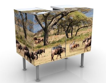 Mobile per lavabo design Herd Of Wildebeest In The Savannah