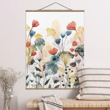 Foto su tessuto da parete con bastone - Fiori di campo in estate II - Verticale 4:3