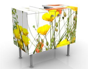 Mobile sottolavabo - Fiori selvatici - Mobile bagno bianco con fiori