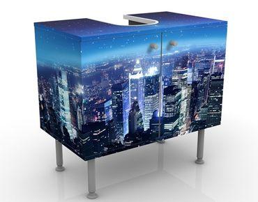 Mobile sottolavabo - New York illuminata - Mobile bagno blu