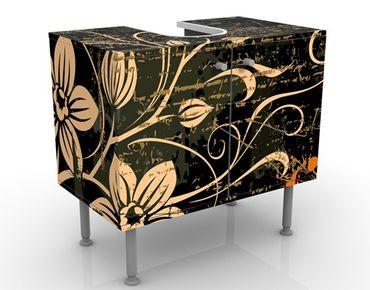 Mobile sottolavabo - Viticci delicati - Mobile bagno nero con fiori