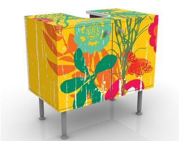 Mobile sottolavabo - Giardino Grunge - Mobile bagno colorato con fiori