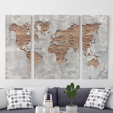 Stampa su tela 3 parti - Shabby Concrete Brick world map - Trittico