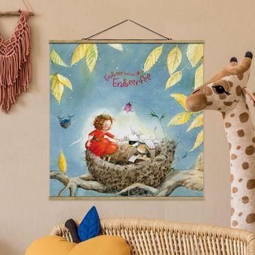Foto su tessuto da parete con bastone - Strawberry Coniglio Erdbeerfee - Spatz - Quadrato 1:1