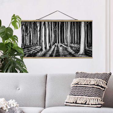 Foto su tessuto da parete con bastone - Spooky foresta - Orizzontale 1:2