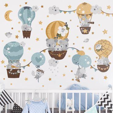 Adesivo murale - Fauna Balloons Nuvole Stelle Set
