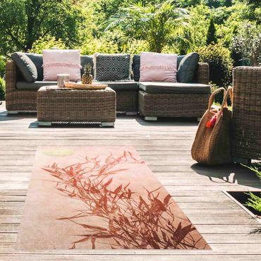 Tappeti in vinile - Sole dorato con bambù rosa - Verticale 1:2