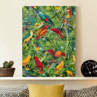 Stampa su tela - Colorato collage - Parrot In The Jungle - Verticale 4:3