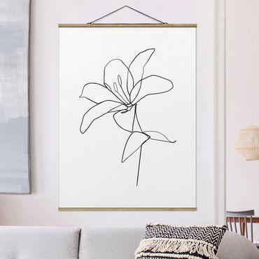 Foto su tessuto da parete con bastone - Fiore Line Art Nero Bianco - Verticale 4:3