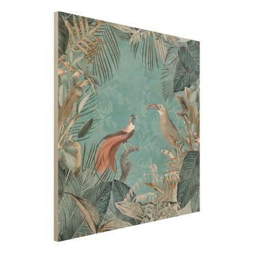 Stampa su legno - Vintage Collage - Birds Of Paradise - Quadrato 1:1