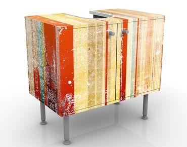 Mobile sottolavabo - Striato I - Mobile bagno vintage arancione e beige