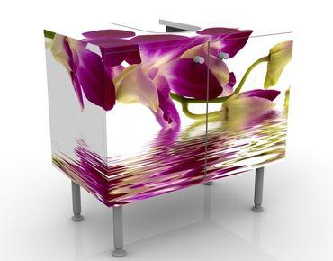 Mobile sottolavabo - Orchidee rosa sull'acqua - Mobile bagno bianco con fiori