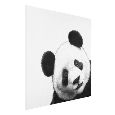 Stampa su Forex - Illustrazione pittura Panda Bianco e nero - Quadrato 1:1