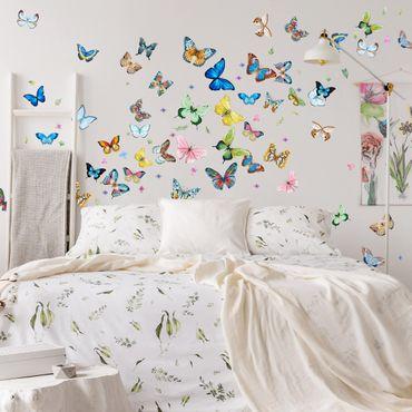 Adesivo murale - Farfalle Acquerello XXL Set