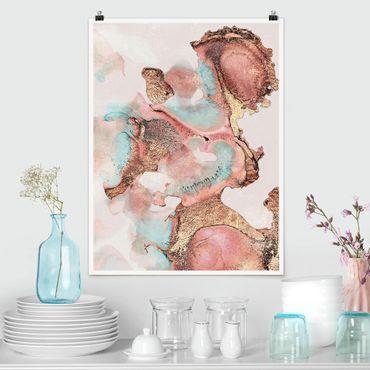 Poster - Oro Acquerello Rosé - Verticale 4:3