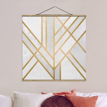 Foto su tessuto da parete con bastone - Elisabeth Fredriksson - Art Deco Geometria oro bianco - Quadrato 1:1