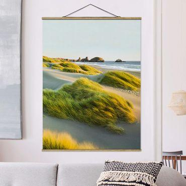 Foto su tessuto da parete con bastone - Dune ed erbe Al Mare - Verticale 4:3