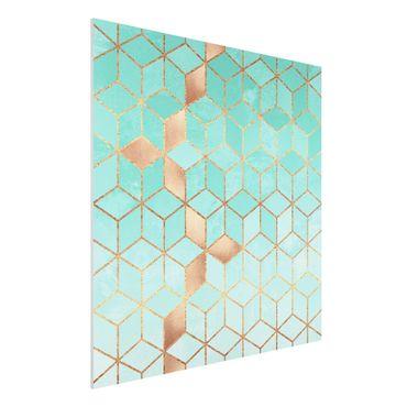 Stampa su Forex - Turchese Bianco d'oro Geometria - Quadrato 1:1