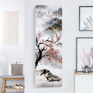 Appendiabiti - Giapponese disegno ad acquerello Ciliegio E Montagne