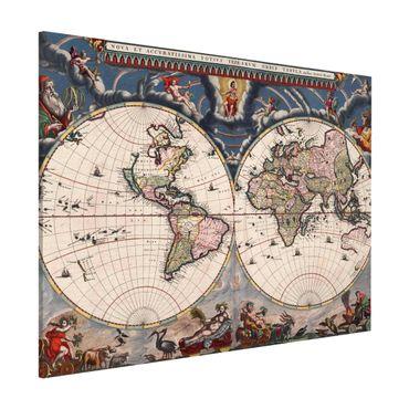 Lavagna magnetica - Storico Mappa del mondo Nova et Accuratissima del 1664 - Formato orizzontale 3:4
