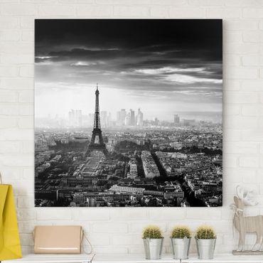 Stampa su tela - La Torre Eiffel From Above Bianco e nero - Quadrato 1:1