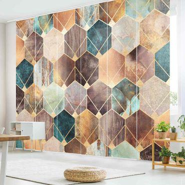 Tende scorrevoli set - Elisabeth Fredriksson - Turquoise Geometria Golden Art Deco - 6 Pannelli