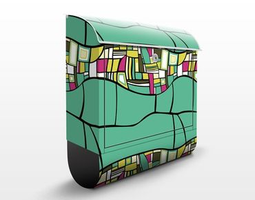 Cassetta postale Abstract Pattern Design Turquoise 39x46x13cm