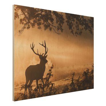 Quadro in legno - Cervi nella foresta di inverno - Orizzontale 4:3