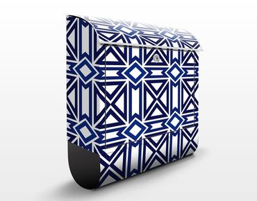 Cassetta postale Graphical Repeat Pattern Blue 39x46x13cm