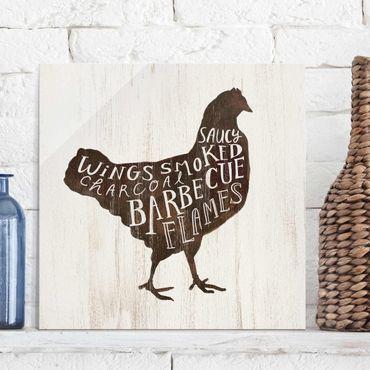 Quadro in vetro - Farm BBQ - Chicken - Quadrato 1:1