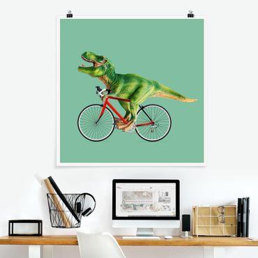 Poster - Dinosauro con la bicicletta - Quadrato 1:1