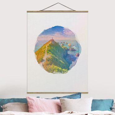 Foto su tessuto da parete con bastone - Acquarelli - Nugget Point Lighthouse e Sea Nuova Zelanda - Verticale 4:3